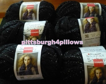 4 - Sashay Ribbon Yarn - Red Heart - Boutique - 3.5 Ozs. - 30 Yds.- Black - 1002 -  Never Used - Price Is For 1