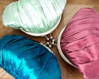 Bridesmaid clutch bag, bridesmaid gift, personalized, custom silk purse, small wristlet, your custom wedding flowers, wedding clutch
