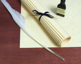 Renaissance Writing Set with Calligraphy Parchment Paper, Feather Quill, and Ink