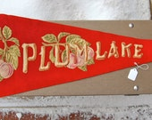 Large antique wool pennant from Plum Lake, Wisconsin. Beautiful for cabin, cottage or lake house decor. This is a really great old pennant.