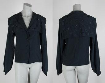SALE Vintage 80s Blouse / 1980s Black Silk Avant Garde Capelet Blouse M L