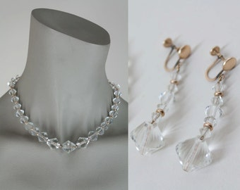 SALE Vintage 30s Jewelry Set / 1930s Art Deco Faceted Glass Crystal Gold Fill Necklace and Earrings Set