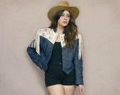 Dark Denim Fringe Jacket Pioneer Wear Native American 80s Cowgirl TIPIS TEEPEES 1980s Country Western Hippie Bolero Crop / Size XL Large