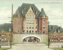 CPR Station VANCOUVER British Columbia Unused Vintage Nerlich Postcard