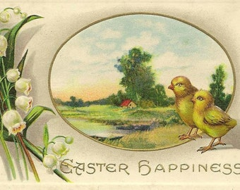 Lily of the Valley and Two Little Yellow Chicks Countryside Scene on Embossed Vintage Easter Postcard J J Marks 1914