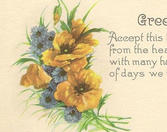 Friendship Vintage Postcard – Yellow Day Lilies and Blue Bachelor Buttons – Beautiful Friendship Greeting