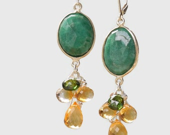 Citrine, Chrome Diopside, and Amazonite Drop Earrings