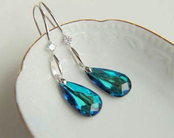 Earrings: Blue swarovski crystals with zirkon crystals, rhodium plated  hooks gift for  wedding, valentine's mother's day