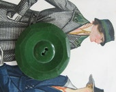 Large Large Large Chunky Green Buttons...new old stock...1940...lot /35