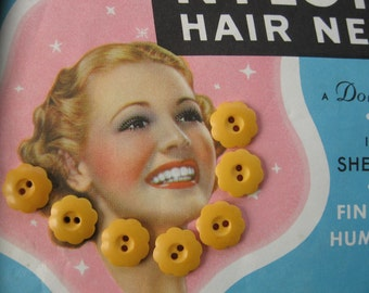 Vintage Butterscotch Bakelite Buttons with Adorable Scallop Border...1930...lot/7