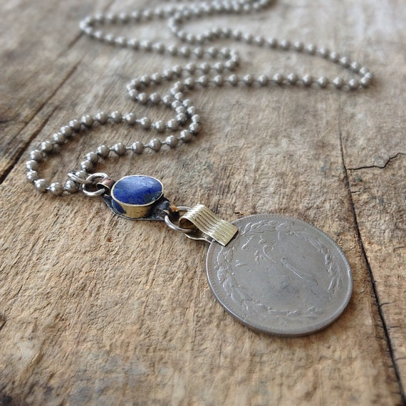 Men's Afghan Coin Necklace, Lapis Lazuli Necklace, Coin Necklace, Relic Jewelry, Relic Necklace, Exotic Jewelry for Men, Bohemian Jewelry