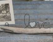 LOVE wire word and sea glass heart on driftwood with photo or card holder WEDDING, Mom, or decor