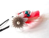 Feather Headband with Kanzashi Flower Red and Teal