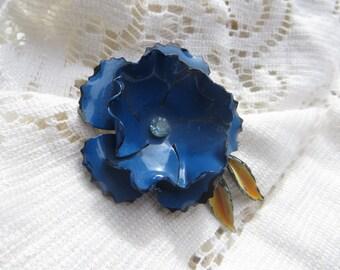 Beautiful Blue Enameled Flower Vintage Brooch