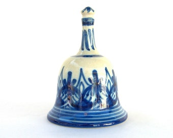 Vintage Ceramic Bell, Blue and White Pottery Spain, Signed Figas 23,