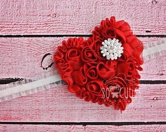 Red Heart Headband, Baby Headbands, Valentines Headbands, Baby Girl Headbands, Infant Headbands, Baby Bows