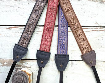 Damask Camera Straps - 4 Colors to Choose From Blue Red GrayLeather and Suede Camera Strap