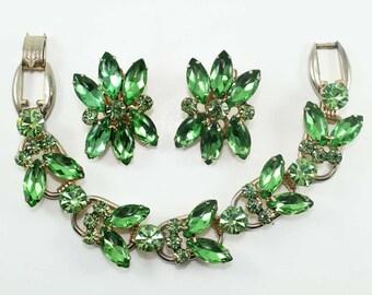 Juliana Peridot Rhinestone Bracelet and Earring Demi