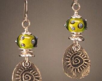 Artisan earring #2...Spiral/Lime green bead