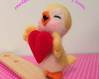 Felted Yellow Canary Holding Valentine Heart with Clip