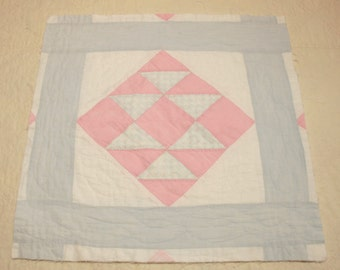 Sweet Slightly Primitive Pink and Blue Cutter Quilt Pieces - 5 Blocks
