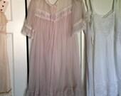 Vintage lingerie robe  pink chiffon robe  Gaymode robe