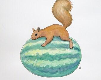 Squirrel and Watermelon - Original 9x9 watercolor