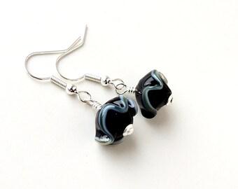 Black Drop Earrings, Black & Grey Ruffle Bead Earrings, Black Bead Jewelry Jewellery, UK (1537)