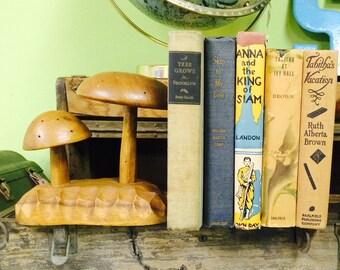 Vintage Bookends Hand Carved Mushrooms Woodland Decor
