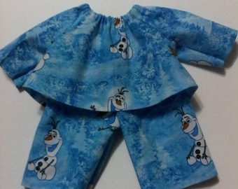"Baby Alive  And Waldorf Doll Clothes  Pajamas 10"" 12"" 15"" Disney Frozen Olaf"