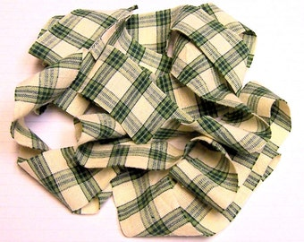 1 yard Homespun Cotton Fabric Ribbon Green Cream Plaid