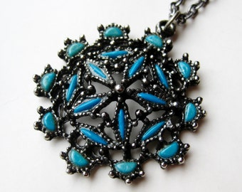 Vintage 60s Navajo Indian Style Faux Turquoise Pendant Necklace