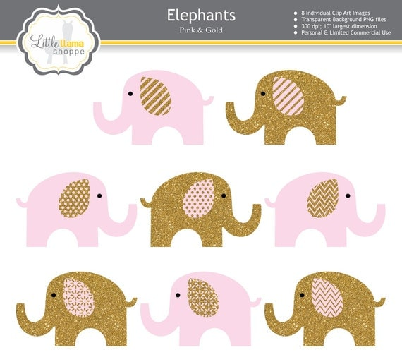 Pink Amp Gold Elephant Clipart Pink And Gold By