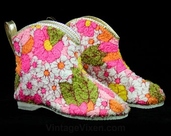 Cute 1960s Girl's Slippers - Size 8 - Girls Terrycloth Cotton Booties - Pink - Orange - Yellow - 60s Deadstock - Childs Slipper - 43182-6