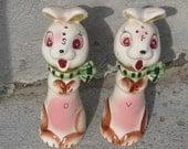 rabbit salt pepper oil vinegar novelty ceramic made in japan