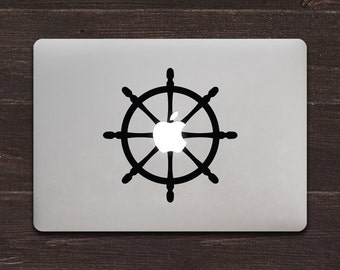 Apple Wheel, Ship's Wheel Vinyl MacBook Decal BAS-0284