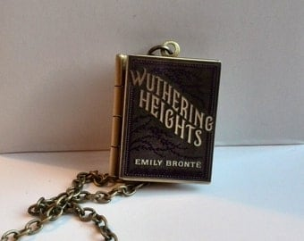 Wuthering Heights Vintage Book,Locket Pendant with an antique chain Handmade