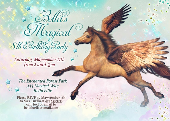 Extrem Pégase cheval Birthday Party Invitation Pegasus Invitations GP46