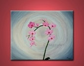 Orchid, pink flowers - 20x16inch original modern palette knife painting, on stretched canvas, ready to hang