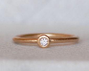 Diamond Pebble Wedding Ring - 2.5mm Diamond Stacking Ring - 14k OR 18k - Choose 1.3mm OR 1.6mm Band