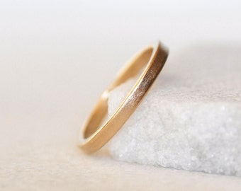 Gold Wedding Band - 2x1.5mm Square Gold Band - Choose 14k or 18k Gold - Eco-Friendly Recycled Gold