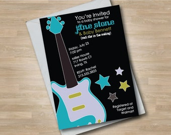 Guitar Baby Shower Invitation, Rock n Roll Shower