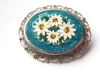 Micromosaic Brooch -Vintage Italian Micro Mosaic Floral Brooch with Blue Background & White Daisies- Oval Pin Silver Tone Metal