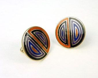 Enamel Cuff Links  Mid Century Modern Cufflinks Orange, Blue, Purple, Black, Gold Tone - Groom Groomsmen Modernist