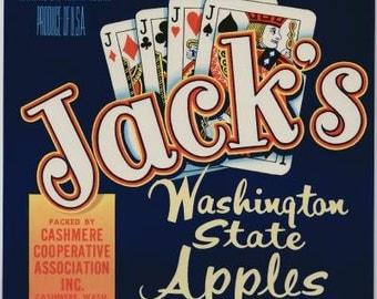 1950s Jacks Poker Hand 4 Of a Kind Washington State Apples Original Crate Label