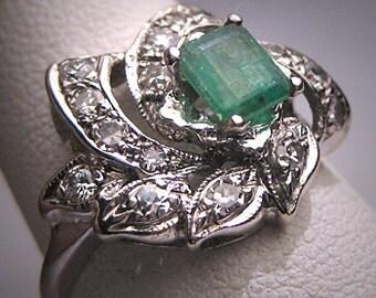 Antique Emerald Diamond Ring Vintage Art Deco Wedding