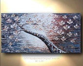 Canvas Flower Tree Gray Painting Abstract Textured wall decor Artwork Fine art by OTO
