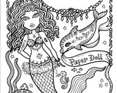 MERmaiD Paper Doll 5 pages to color and cut and play