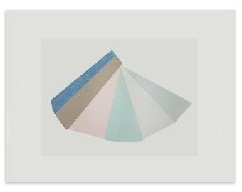 Geometric handmade screen print in seven pretty colours, modern wall decor