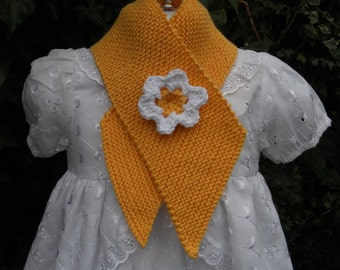 Scarflette/mini-scarf/neck warmer, hand knitted in yellow soft cotton rich yarn, age 1-2 years, baby girl/toddler